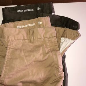 2 Gap Pants- beige and olive green